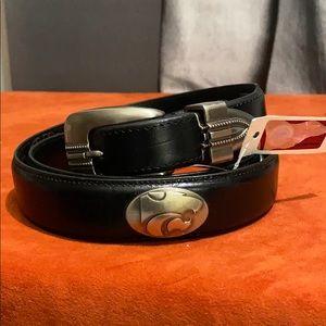 Kansas State black leather Belt